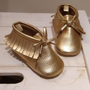 Gold Shiny Shoes - soft soled size 3-6 months